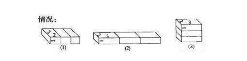 三个长方体拼成大长方体的三种情况